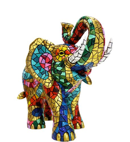 Figurine Elephant Multicolor in Mosaic of the Collection Carnival Style Trencadis of Antonio Gaudí 13 x 6.5 x 10.5 cm multicoloured