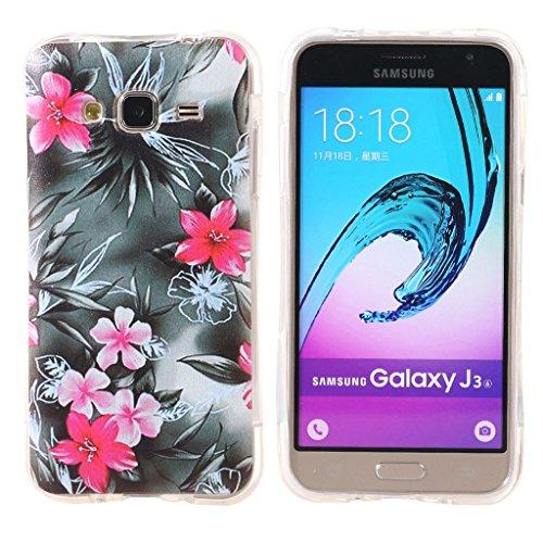 Galaxy J3 Phone Custodias DWaybox Slim Fit and Snugly Soft TPU Gel Shock-Absorption Bumper Custodias Cover per Samsung Galaxy J3 2016 J320 (Red Flower)