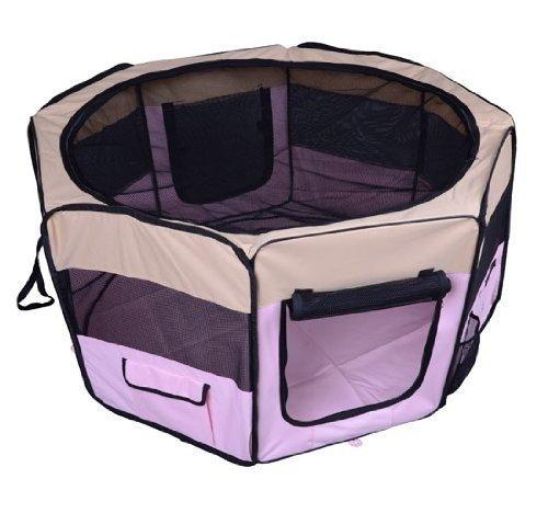 homcom PawHut Box per Animali Cani Gatto Recinzione per Cuccioli Cuccia 114x114x58cm Rosa