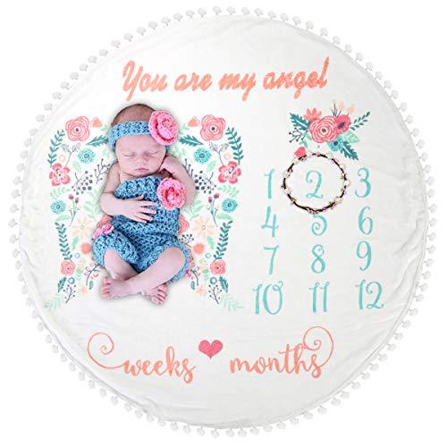 Manta redonda con flores para cumple mes del bebé