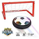 Waitiee Air Hover Ball niños revolotean juego de pelota juguetes con la luz LED y la música de aire de fútbol de la energía del disco Glide Ball Juego de la base de regalo de Navidad para los niños am (Soccer Gate Set)