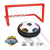 Waitiee Kids Hover Ball Spiel Spielzeug mit leistungsstarken LED Light and Music Air Power Soccer Disc Glide Base Ball Game Christmas Gift für Kinder Indoor & Outdoor friends Spiel-Schwarz (Soccer Gate Set)