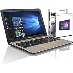 ASUS (15,6 Zoll) Notebook (Intel N3710 Quad Core 4x2.56GHz), 4GB RAM, 750GB S-ATA HDD, Intel HD Graphic, HDMI, VGA, Webcam, USB 3.0, USB Type-C, WLAN, DVD-Brenner, Windows 10 Professional 64-Bit #5182