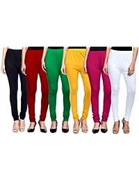 Mek-Orange Women's Cotton Churidar Legging - Pack Of 6