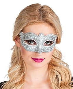 Boland Generique - Máscara Veneciana Argentata con diamantes de imitación para las mujeres-Tamaño