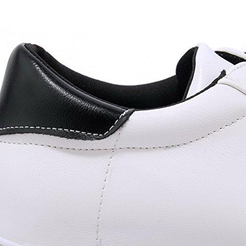 AgooLar Femme Lacet à Talon Bas Pu Cuir Couleurs Mélangées Rond Chaussures Légeres Noir