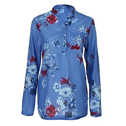 Kobay Damen Übergröße Chiffon Blumenmuster Lange Ärmel Kragen Bluse Pullover Tops Shirt(Medium,Blau) (Ärmel Lange Pullover Extra)