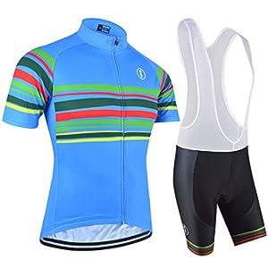 BXIO Los Jerseys de Ciclo - Transpirable Bici Corta Jersey Azul Medio
