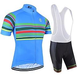 Bxio - Transpirable De Manga Corta Ciclismo Bicicleta Jersey Con 3D Almohadilla De Gel Para Pro bicicleta Culotte equipo ropa 151 (Shirts And Bib Shosts, L)