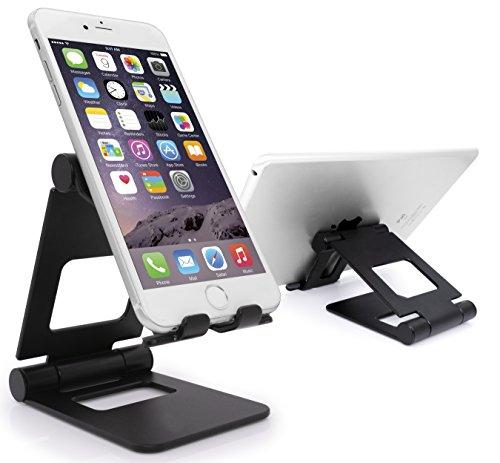 MyGadget Smartphone Ständer [Multi-Winkel Faltbar] Aluminium Stand Tischhalterung für Apple iPhone X XS Max XR X 8 7 / Samsung Galaxy S9 in Schwarz