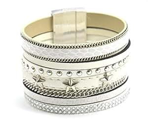BC1116L - Bracelet Manchette Multi-Rangs Simili Cuir Ecailles Chaîne Clous et Etoiles Blanc - Mode Fantaisie