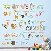 decalmile Alphabet ABC and Animals Wall Decals Classroom Kids Room Wall Decor Removable Wall stickers for Kids Bedroom Nursery Baby Room