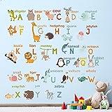 decalmile Alfabeto Adhesivo Decorativo Animales Pegatinas Pared Aula Habitación de Niños para Pared Vinilos Desmontable Niños Bebés Dormitorios Cuarto de Jugar Decoración