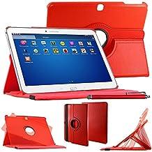 """ebestStar–Para Samsung Galaxy Tab 410.1SM-T530, T531T535–Funda–carcasa de piel PU soporte giratorio 360° + lápiz táctil, color rojo [Dimensions precises de votre calentador: 243.4X 176.4X 8mm, pantalla 10.1""""]"""