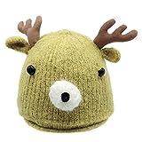 Likecrazy Baby Weihnachten Cartoon Strickmütze Neugeborenes Winter Warm Cap halten Babybekleidung Hüte & Mützen Kleinkind Hirschhorn nette Mode Mützen (Gelb,one size)
