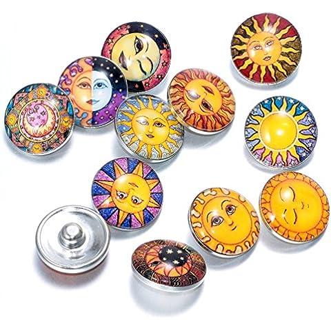 Soleebee Aluminio Vidrio de Sun Snap Charms Botones de joyería Lote de 12 piezas de 18 mm