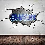 Wandtattoo GRAFFITI Name personalisiert 3D Risse Urban für Jungen Mädchen - M: 100cm (B) x 56cm (H)