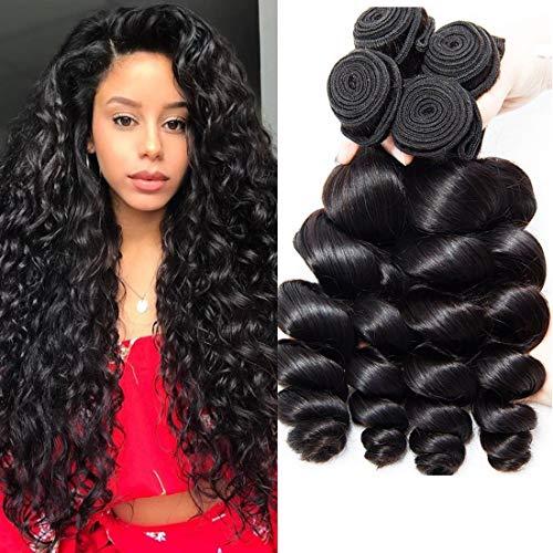 Musi 8A cheveux bresilien tissage Loose Wave 3 Bundles tissage bresilien boucle Extensions de Cheveux Humains Couleur Naturelle 300g 12 14 16 Inch