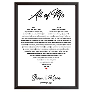 Personalised Song Lyrics Wall Art Print - JOHN LEGEND - ALL OF ME - The perfect gift idea a for wedding, first dance, love song, anniversary, engagement, proposal, birthday, Christmas, Mothers day, Fathers day, housewarming, new home and more. Gift this present / keepsake to couples, mum, dad, husband, wife, uncle, auntie, brother, sister, teacher or anyone. Wall posters available framed or print only. Picture sizes - A3, A4, A5 and 7 x 5