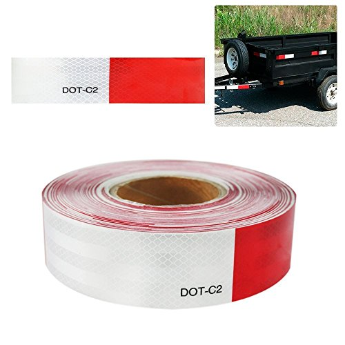 Wefond 6m/20ft Auto Auto reflektierende Klebeband Sicherheit Vorsicht Warnung Aufkleber für Autos, LKW, Anhänger, Wohnmobile, Camper, Boote und Postfächer - rot und weiß (Streifen)