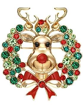 Neoglory Jewellery 14 K gold Brosche Ohrringe mit Strass Weihnachten Emaille rot grün
