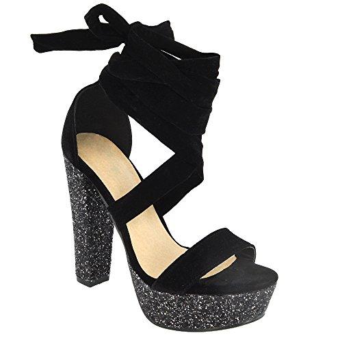 ESSEX GLAM Scarpa Donna Finto Scamosciato Sandalo con Allacciatura intorno alla Caviglia Tacco a Blocco Alto Glitter Festa Nero Finto Scamosciato