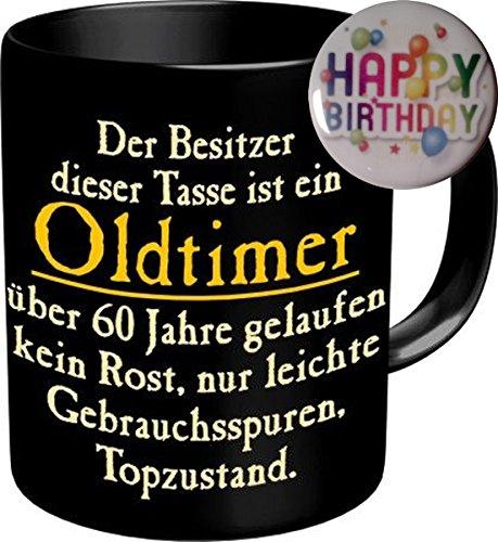 2556 Geburtstag Geschenke-Set 60: OLDTIMER 60 JAHRE GELAUFEN, Geburtstagsgeschenk 60. Premium Geschenk Tasse Keramik, Original RAHMENLOS® in Geschenkbox + Button Happy Birthday