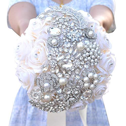 Braut Bouquet Hochzeits-Bouquets Pure Manual Hand Holding Blume Weiße künstliche Fake Rose Blumenbraut Decoration Bouquets Valentine es Day Gift (Valentine Diy Kranz)