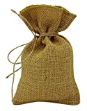 50 Natural Rustic Metallic Gold Jute Drawstring Favor Bag Wedding Party Small Gift Sack Pouches 5