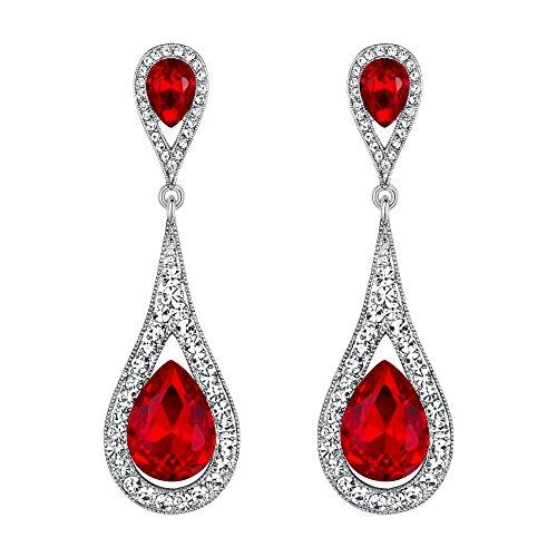 Orecchini donna,EVER FAITH Cristallo austriaco Elegante doppio lacrima Orecchino trafitto pendente Colore rubino Argento-fondo
