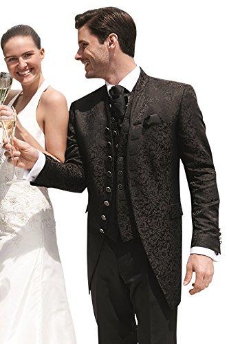 Wilvorst Hochzeitsanzug, ebenholzfarben in Bouquet Jacquard, Slimline, Longsakko Größe 48