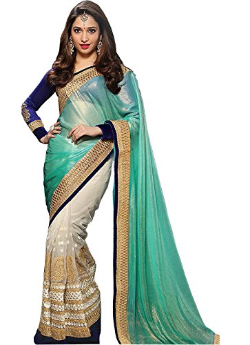 Adorn fashion Tamanna Bhatia Cream & Sea Blue Mono Net With Emboss Georgette Saree  available at amazon for Rs.1425
