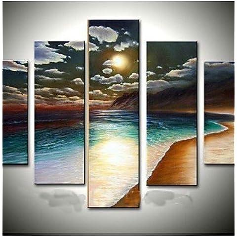 LY&HYL pintura pintada a mano de la playa de oro marino dom aceite en la lona 5pcs / set sin marco , painting only