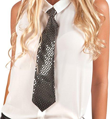 Boland 52953 - Krawatte Spangles, Circa 40 cm, schwarz