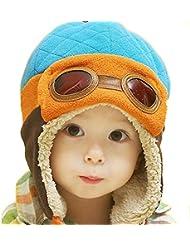 Tongshi Nuevos muchachos calientes del invierno del casquillo del sombrero de la gorrita tejida piloto aviador ganchillo Earflap Sombreros(azul)