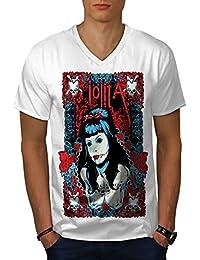 wellcoda Lolita Sexy Morto Gangster Uomini S-2XL T-Shirt con Scollo a V 5a55328f440a