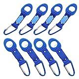 SODIAL 8 Confezione Acqua silicone Bottle Holder Hook con portachiavi - Sospeso fibbia Acqua Minerale Bottiglia clip Fibbia supporto della bevanda per esterno Viaggiare Trekking (blu)