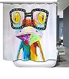 ELLEMOI Duschvorhang Digitaldruck Wasserdicht und Schimmel Stoff Bad Vorhang 180x200cm mit 12 Haken