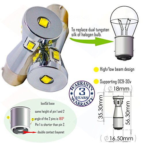 Preisvergleich Produktbild Wiseshine bax15d led birne lampen DC9-30v 3 Jahre Qualitätssicherung (2 Stück) Hoch- / Abblendlicht bax15d 9 led HP rot