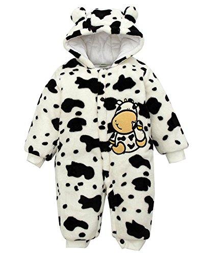 Minetom Herbst Winter Verdickte Overalls Baby Mädchen Jungen Overall Cartoon Coral Fleece Kinderkleidung Warm Einteiler Spieler Kuh Weiß (Kostüme Säuglings Kuh)
