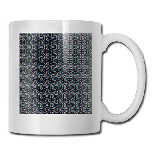 Jolly2T Funny Ceramic Novelty Coffee Mug 11oz,Retro Style Ethnic and African Floral Motifs Mosaic Tile Pattern Colorful Design,Unisex Who Tea Mugs Coffee Cups,Suitable for Office and Home Floral Demitasse Cup