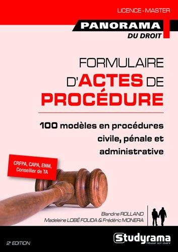Formulaire d'actes de procédure