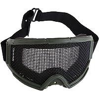 Malla Goggles - WoSporT Gafas de Proteccion Tactico Goggles de Malla de Metal para Caza Airsoft(verde)