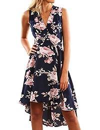 Vestidos Mujer Verano 2018 EUZeo Sexy Casual Floral Estampado Vestidos Dobladillo de Irregular Largos de Fiesta