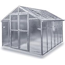 Gewächshaus Junior aus verzinkten Metallprofilen und Echt-Glas, Breite 2,49 m (Länge 6,04 m)