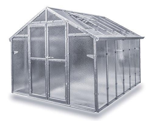 Gewächshaus Junior aus verzinkten Metallprofilen und Echt-Glas, Breite 2,49 m (Länge 4,06 m)
