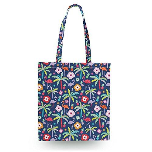 Flamingo Paradise Navy - Open Canvas Tote Bag - Canvas Tote Bag Shopper Tragetasche -