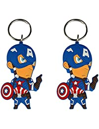 Techpro Doublesided Rubber Superhero Captain America Figure Keychain Combo Pack Design