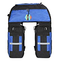 PELLOR 70L Waterproof 3 in 1 MTB Bike Rear Bicycle Pannier Bags Bike Rack Bag With Rain Cover (Blue)