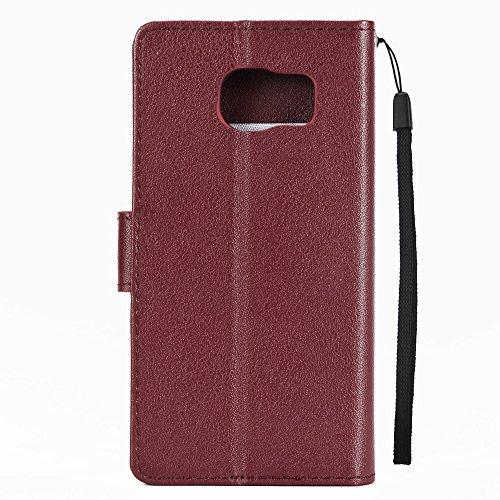 Classic Premiu PU Ledertasche, Horizontale Flip Stand Case Cover mit Cash & Card Slots & Lanyard & Soft TPU Interio Rückseite für Samsung Galaxy S6 ( Color : Black ) Wine